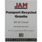 "JAM Paper® 80 lb. 8 1/2"" x 11"" Recycled Cardstock, Granite, 50 Sheets/Pack"
