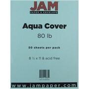 "JAM Paper® 80 lb. 8 1/2"" x 11"" Cardstock, Aqua, 50/Pack"