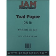 "JAM Paper® 28 lb.. Printer Paper, 8 1/2"" x 11"", Teal Blue, 50/Pack"