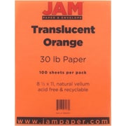 "JAM Paper® 30 lb. 8 1/2"" x 11"" Translucent Vellum Paper, Orange, 100 Sheets/Pack"