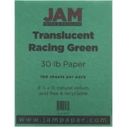 "JAM Paper® 30 lb. 8 1/2"" x 11"" Translucent Vellum Paper, Racing Green, 100 Sheets/Pack"