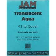 "JAM Paper® 43 lb. 8 1/2"" x 11"" Translucent Cover, Aqua, 50 Sheets/Pack"
