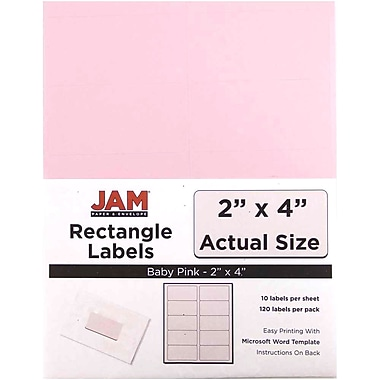 JAM Paper® Mailing Address Labels, 2 x 4, Baby Pink, 120/pack (4052897)