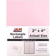 "Jam Paper 2"" x 4"" Inkjet/Laser Mailing Address Labels, Baby Pink, 12/Pack (4052897)"