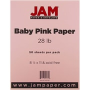"JAM Paper® 28 lb. 8 1/2"" x 11"" Paper, Baby Pink, 50 Sheets/Pack"