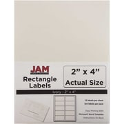 "Jam Paper 2"" x 4"" Inkjet/Laser Mailing Address Labels, Ivory, 12/Pack (17966070)"