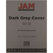 """JAM Paper® 80 lb. 8 1/2"""" x 11"""" Cover Cardstock, Gray/Grey, 50 Sheets/Pack"""