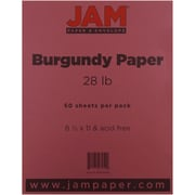 "JAM Paper® 28 lb. 8 1/2"" x 11"" Paper, Burgundy, 50 Sheets/Pack"