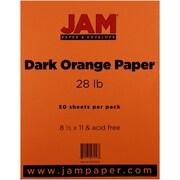 "JAM Paper® 28 lb. 8 1/2"" x 11"" Paper, Dark Orange, 50 Sheets/Pack"