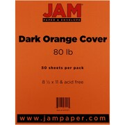 "JAM Paper® 80 lb. 8 1/2"" x 11"" Cover Cardstock, Dark Orange, 50 Sheets/Pack"