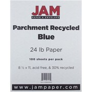 "JAM Paper® 24 lb. 8 1/2"" x 11"" Parchment Recycled Paper, Blue, 100 Sheets/Pack"