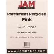 "JAM Paper® 8 1/2"" x 11"" 24 lb.. Parchment Recycled Paper, Pink Ice, 100 Sheets/Pack"