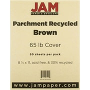 """JAM Paper® 8 1/2"""" x 11"""" 65 lb.. Parchment Recycled Cover Cardstock, Brown, 50 Sheets/Pack"""