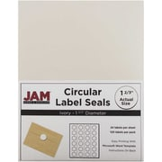 "Jam® Paper 1 1/2"" Circle Label Sticker Seal, Ivory, 24 Labels per Page, 120/Pack"