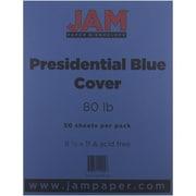 "JAM Paper® 8 1/2"" x 11"" 80 lb. Presidential Cardstock, Blue, 50 Sheets/Ream"