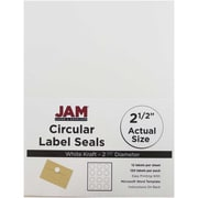 JAM Paper® Round Circle Label Sticker Seals, 2.5 inch diameter, White, 120/pack (2147615066)