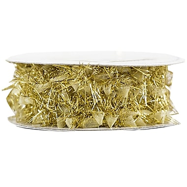 JAM Paper® Feather Ribbon, 3 Yards per spool, Gold Metallic, Sold Individually (2209816339)