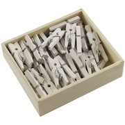 JAM Paper® Medium Wood Clothing Pin Clips, White, 50/Pack
