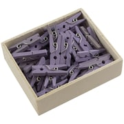 JAM Paper® Medium Wood Clothing Pin Clips, Lavender, 50/Pack