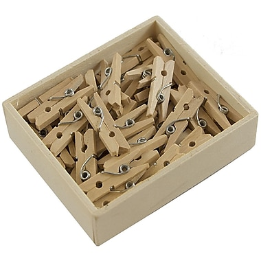 JAM Paper® Wood Clothing Pin Clips, Small 7/8, Natural Brown, 50/pack (3230717359)