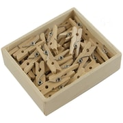 JAM Paper® Medium Wood Clothes Pin Clips, Natural, 50/Pack