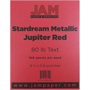 "JAM Paper® 32 lb. 8 1/2"" x 11"" Metallic Stardream Paper, Jupiter Red, 100 Sheets/Pack"