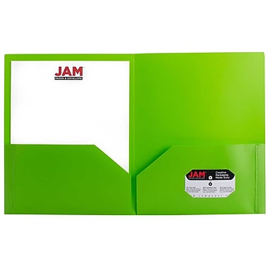 JAM Paper® Plastic Biodegradable Two Pocket Eco Folder, Lime Green, Sold Individually