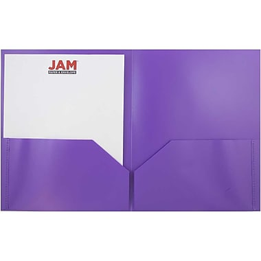 JAM Paper® Plastic Biodegradable Two Pocket Eco Folder, Purple, Sold Individually