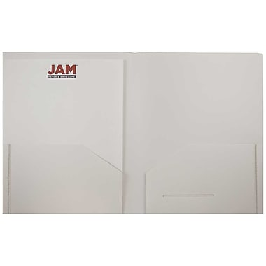 JAM Paper® Plastic Heavy Duty Two Pocket Folders, White, 108/pack (383HWHB)