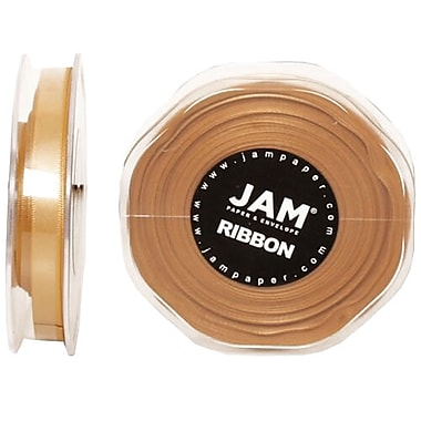 JAM Paper® Double Faced Satin Ribbon, 3/8 Inch Wide x 25 Yards, Gold, Sold Individually (803SAGO25)