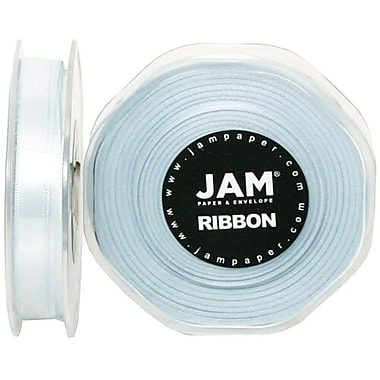 JAM Paper® Double Faced Satin Ribbon, 3/8 Inch Wide x 25 Yards, Baby Blue, Sold Individually (803SALTBU25)