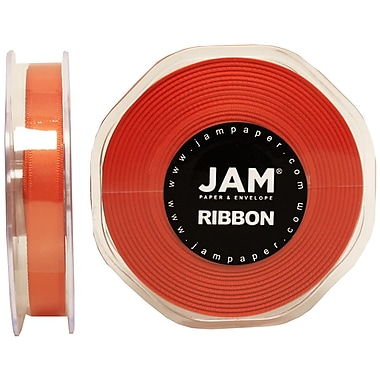JAM Paper® Double Faced Satin Ribbon, 3/8 Inch Wide x 25 Yards, Orange, Sold Individually (803SAOR25)