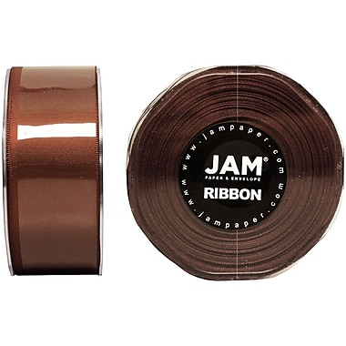 JAM Paper® Double Faced Satin Ribbon, 1.5 Inch Wide x 25 Yards, Chocolate Brown, Sold Individually (808SACHB25)