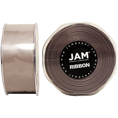 JAM Paper® Double Faced Satin Ribbon, 1.5 Inch Wide x 25 Yards, Silver, Sold Individually (808SASI25)