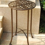 International Caravan Mandalay 16-inch Iron Patio Side Table; Bronze