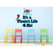 Sunny Decals ''It's a Pirate Life 4 Me!'' Pirate Sign Fabric Wall Decal''