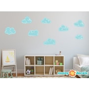 Sunny Decals Hand Drawn Cloud Fabric Wall Decal; Blue