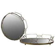 Urban Trends Metal Tray with Metal Handles and Round Mirror Base Set of Two Gold