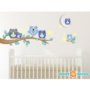 Sunny Decals Owl Fabric Wall Decal; Blue