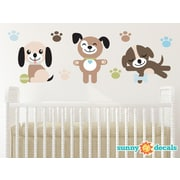 Sunny Decals 3 Piece Adorable Puppy Dogs Fabric Wall Decal Set
