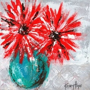 GreenBox Art 'Red Flowers on Gray' by Kasey Hope Painting Print on Canvas; 18'' H x 18'' W