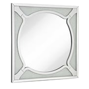 Majestic Mirror Square Wood Frame Round Beveled Mirror with Glass Beads Accent Wall Mirror