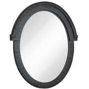 Majestic Mirror Round Black With Natural Wood Grain Oval Glass Shaped Hanging Wall Mirror