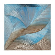 Majestic Mirror Blue and Bronze Square Textured Metal Art