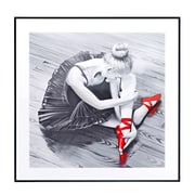 Majestic Mirror Square Ballerina with Red Ballet Slipper Framed Wall Art