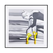 Majestic Mirror Square Ballerina with Yellow Ballet Slipper Framed Wall Art