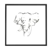 Majestic Mirror Square Abstract Elephant Mirror Shadow Box Art with Thin Semi Gloss Black Frame