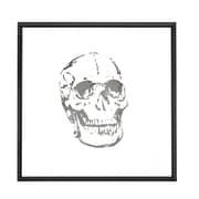Majestic Mirror Square Abstract Skull Mirror Shadow Box Art with Thin Semi Gloss Black Frame