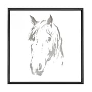 Majestic Mirror Square Abstract Horse Mirror Shadow Box Art with Thin Semi Gloss Black Frame