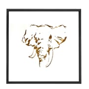 Majestic Mirror Square Abstract Elephant Gold Shadow Box Art with Thin Semi Gloss Black Frame